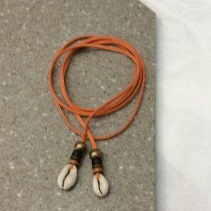Jewelry - Orange cowrie shell conch wrap necklace new